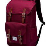 School Backpack,Vaschy Water Resistant Drawstring Laptop Backpack for 15.6in Laptop Burgundy