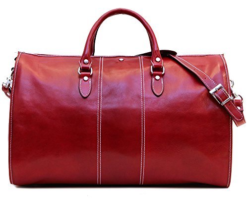 Floto Venezia Leather Garment Duffel Bag, Travel Bag in Red