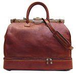 Floto Positano Gladstone Weekend Duffle Bag in Saddle Brown Italian Calfskin Leather