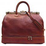 Floto Positano Gladstone Weekend Duffle Bag in Saddle Brown Italian Calfskin Leather