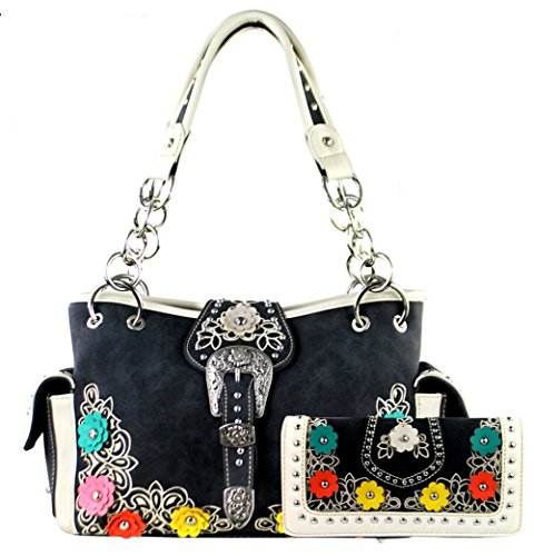 Montana West Buckle Collection Concelaed Carry Floral Handbag Satchel and Wallet (Grey)