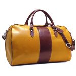 Floto Venezia Duffle Bag in Yellow and Brown Italian Calfskin Leather
