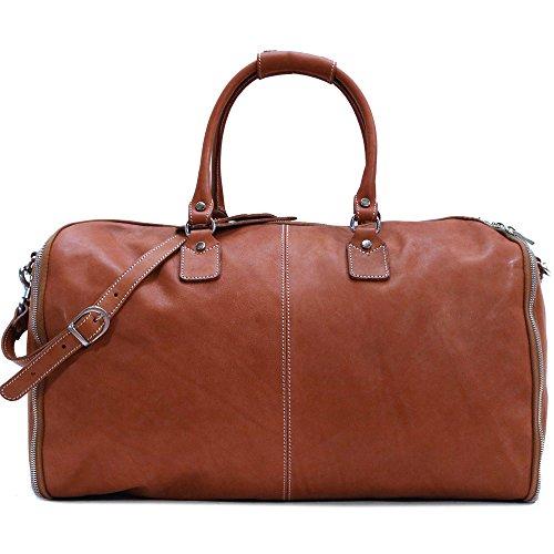 Floto Parma Leather Garment Duffel Bag in Brown
