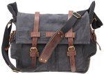 Iblue Vintage Laptop Messenger Bag Canvas Leather Military Camera Shoulder Briefcase #i512 (dark grey)
