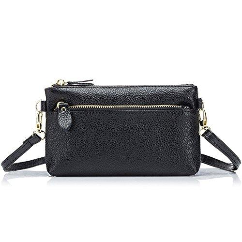 Aladin Small Leather Crossbody Bag / Wristlet Purse 2 In 1 Handbag for Women Teen Girls Black