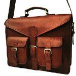 """B & H Genuine Leather Messenger Bag 15"""" Leather Laptop Bag Leather Satchel Briefcase Bag."""