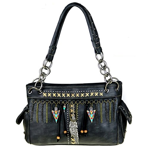 Montana West Tassel Feather Concealed Carry Handgun Handbag Satchel (Black)