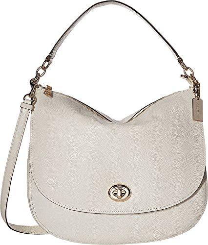 COACH Women's Pebbled Turnlock Hobo Chalk Handbag