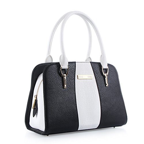 Handbags for women, FYY 100% Handmade Premium PU Leather Cord Tied women satchel handbags Black+White
