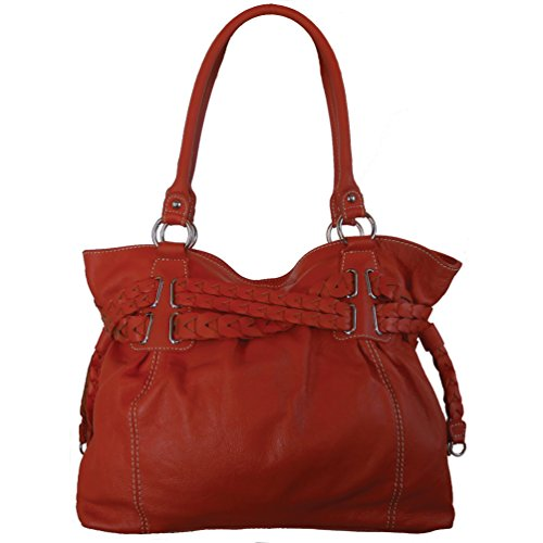 16 Twisted Sister Braided Genuine Leather Drawstring Ruched Tote Hobo Shoulder Bag