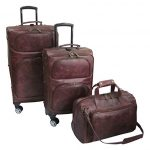 Amerileather Brown Leather Python-Print Three Piece Set Traveler on Spinner Wheels (#8703-7)