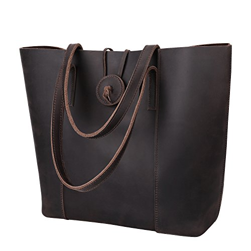 7bb7cf32ec S-ZONE Vintage Women Genuine Leather Tote Bag Purse with Removable Pouch