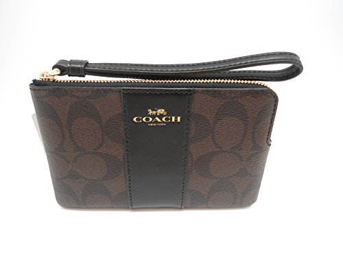 bef44216e1 COACH F58035 CORNER ZIP WRISTLET IN SIGNATURE COATED CANVAS WITH LEATHER  STRIPE BROWN BLACK