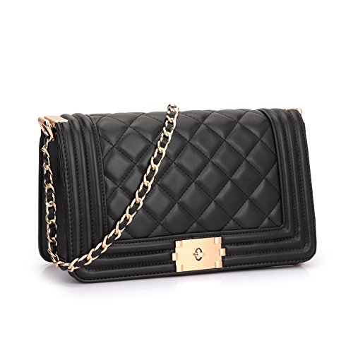 Dasein Women's Classic Quilted Twist Turn Lock Crossbody Bag Shoulder Bag Satchel Handbag w/ Chain Strap