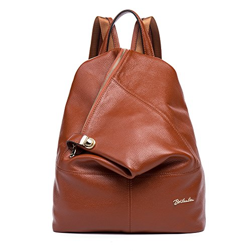 BOSTANTEN Women Leather Backpack Purse Satchel Shoulder School Bags for College Brown