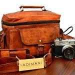 ADIMANI vintage handmade travel distressed satchel leather camera DSLR bag Padded Digital Camera Bag for Sony Nikon Cannon with Lens Partition , bolso de cuero