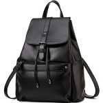 Coofit Women's Fashion Travel Bag Leather College Backpack Shoulder Bag Black