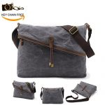 Messenger Bag Waxed Canvas Genuine Leather Crossbody Purse for Men and Women