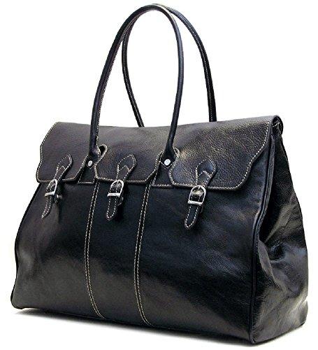 Floto Lugano Leather Duffel Bag in Black