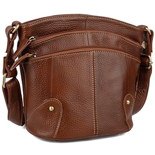 a541f94d97 YALUXE Women s Cowhide Genuine Leather Multi Zipper Small Purse Crossbody Shoulder  Bag