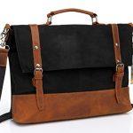Kasqo Water Resistant Waxed Canvas 15.6 inch Laptop Messenger Bag for Work, Vintage Crossbody Shoulder Bag,Leather Satchel Black with Removable Strap