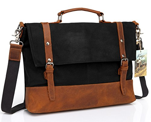 Kasqo Water Resistant Waxed Canvas 15.6 inch Laptop Messenger Bag for Work, Vintage Crossbody Shoulder Bag,Leather Satchel Black with Removable Strap