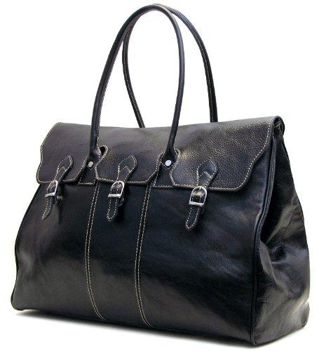 Floto Lugano Duffle in Black Italian Calfskin Leather