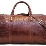Toscana Duffle Vecchio Brown Stamped Italian Leather Weekender Travel Bag