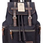 BLUBOON(TM) Vintage Men Casual Canvas Leather Backpack Rucksack Bookbag Satchel Hiking Bag (black)