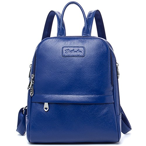 BOSTANTEN Women Leather Backpack Purse Satchel Shoulder School Bags for College Blue Small