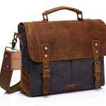 Vaschy Casual Genuine Leather Canvas messenger Bag Laptop Shoulder Bag Bookbag