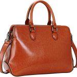 Heshe Womens Leather Shoulder Handbags Tote Bags Crossbody Bag Top Handle Handbag Satchel and Purse for Ladies Messenger Style (SBrown)