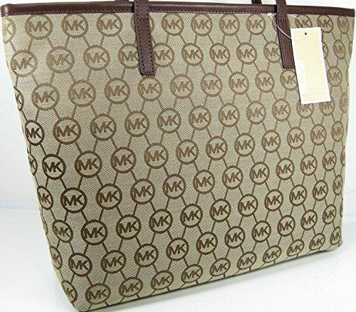 Michael Kors Women Montauk MK Logo Purse XL Hand Bag Tote Beige Ebony Mocha