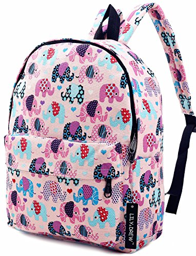 Lightweight Canvas Backpack for Women, Teens and Kids (Elephant Pink Medium)