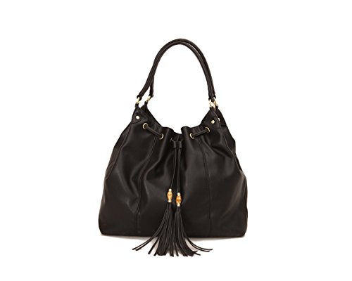 Olivia and Joy Womens Fashion Designer Handbags Autumn Faux Leather Drawstring Tote Shoulder Bag with Tassels