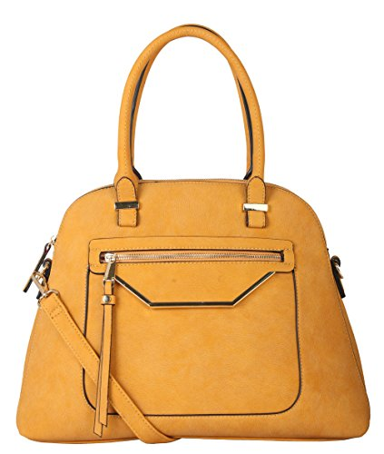 Rimen & Co. PU Leather Pastel Large Shell Shape Tote Satchel Womens Purse Handbag with Removable Strap GS-2995 Yellow