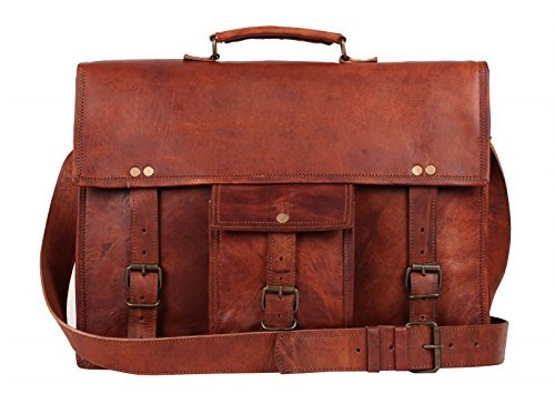 Leather Vintage Rustic Crossbody Messenger Courier Satchel Bag Gift Men Women ~ Business Work Briefcase Carry Laptop Computer Book Handmade Rugged & Distressed ~ Everyday Office College School 16 Inch