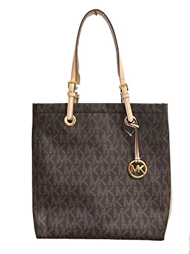 Michael Kors Signature Jet Set North South Tote in Brown PVC