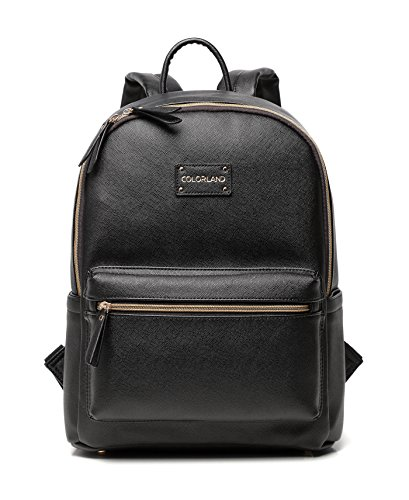 Designer Diaper Bag, Perfect Faux Leather Backpack for Moms and Dads, Spacious Interior And Plethora of Inside Easy-To-Access Pockets, Sophisticated and Lightweight Baby Bag With Changing Pad, Black