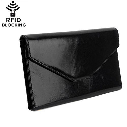 BIG SALE -40% OFF- YALUXE Women's RFID Blocking Leather Large Wristlet Clutch Passport Checkbook Wallet(Gift Box) Black