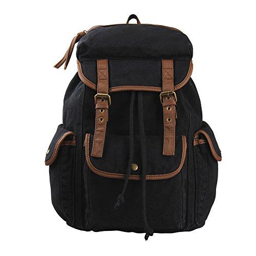 Hynes Eagle Multi Pockets Canvas Backpack School Travel Rucksack 25 Liter
