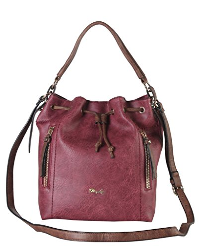 Diophy PU Leather Front Zippered Pockets Drawstring Hobo Womens Purse Handbag AB-022
