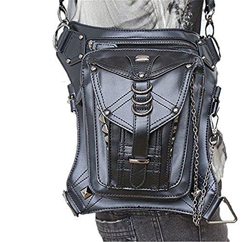 Katoot@ Black Leather Punk Leg Thigh Hip Holster Wallet Purse Pouch Mini Waist Packs/Messenger Bag