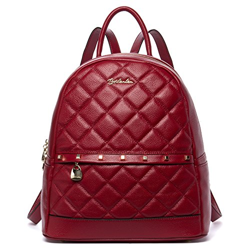 BOSTANTEN Leather Backpack Purse Shoulder School Camping Bags for Women Red