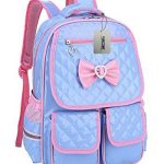 Puretime Girls Cute Pu Leather School Backpack Satchel Travel Bag Princess Style (Blue)