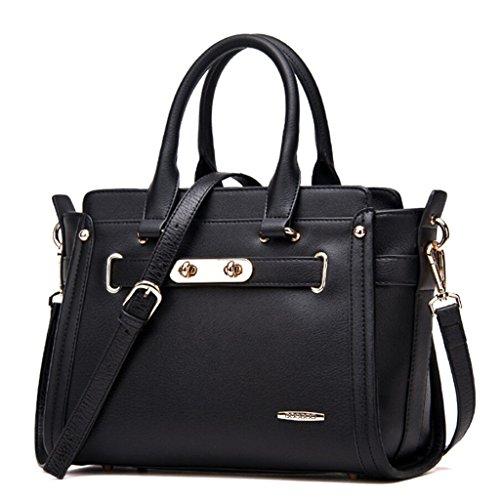 Bagtopia Women's Fashion Leather Top-handle Handbags Classic Sweet Lady Totes Shoulder Bag Satchel Purse(Black)