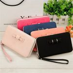 Phone clutch wallet,Charminer Women's Phone Package Bow Long Section Clutch 5.5 Inch Phone Wallets Case with a strap inside Leather Wallet