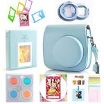 Hellohelio 7-in-1 Accessories Bundle Set for Instax Mini 8 8+ Instant Film Camera - Blue