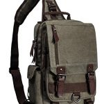 Leaper Canvas One Strap Sling Cross Body Messenger Bag Shoulder Backpack Rucksack (Medium,Army Green)