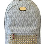 MICHAEL Michael Kors Large PRINTED MK STUDDED Jet Set Item Backpack VANILLA
